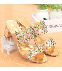 las zapatillas de gran tamaño de las mujeres rhinestone sandalias