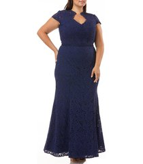 plus size women's js collections panel scalloped lace gown, size 20w - blue