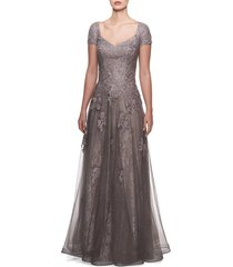 women's la femme tulle & lace gown, size 6 - metallic