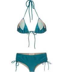 adriana degreas floral embellished triangle bikini set - blue