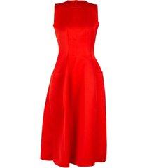 red sleeveless crewneck dress