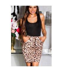 sexy hoge taille rok met luipaard-print beige