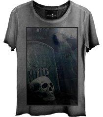 camiseta skull lab caveira corte a fio cinza