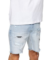 men's topman bleach rip & repair skinny fit denim shorts