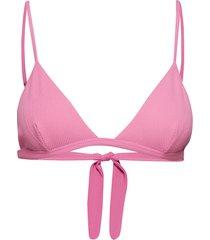 textured swimwear bikinitop roze ganni