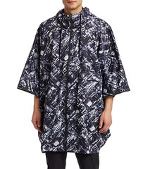 graphic zip poncho
