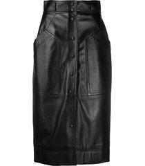 alberta ferretti high-waist matte skirt - black