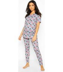 zwangerschap kerst mopshond pyjama broek, grijs