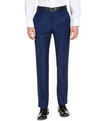 armani exchange men's classic-fit high blue pindot suit pants