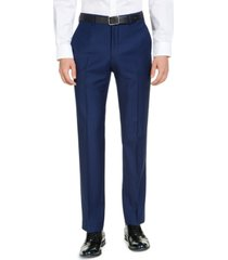 armani exchange men's classic-fit high blue pindot suit pants