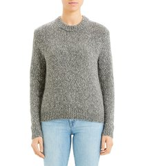 theory women's speckled knit sweater - heather grey - size xs