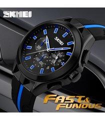 reloj de cuarzo calendario multifuncional-azul