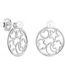 aretes silueta de plata con perla