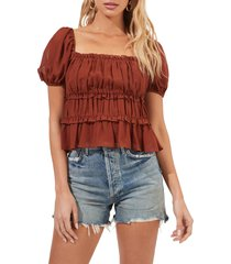 astr the label ruffle puff sleeve top, size small in nutmeg at nordstrom