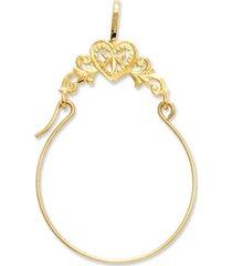 14k gold charm holder, polished filigree heart charm holder