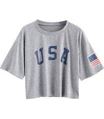 zaful camiseta casual con estampado de bandera americana-gris