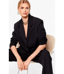 womens working hard or oversized blazer - black