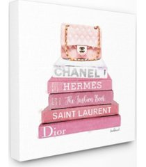 "stupell industries pink book stack fashion handbag xl canvas wall art, 30"" x 30"""