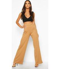 basic geribde jumbo-broek met wijde pijpen en hoge taille, kameel