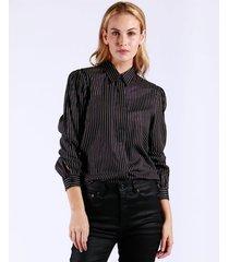 camisa lurex slim stripes