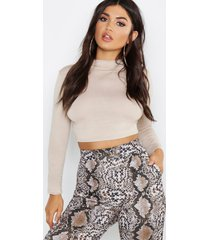 basic funnel neck long sleeve crop top, stone