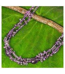 amethyst long beaded necklace, 'precious lavender' (thailand)