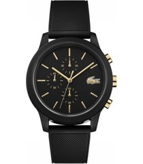 lacoste men's chronograph 12.12 black rubber strap watch 42mm