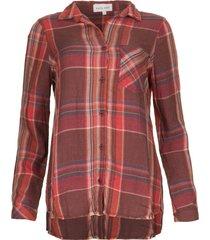 blouse met gerafelde naad martha  rood