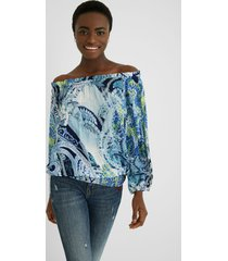 blouse boat neck - blue - xxl