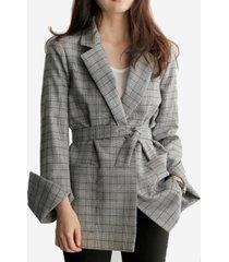 giacca casual da donna a maniche lunghe in blazer scozzese