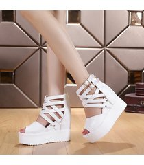ps401 sweet crossed strap wedge booties, us size 3-8.5, white