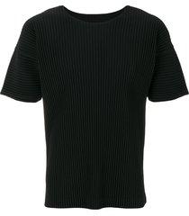 homme plissé issey miyake ribbed effect t-shirt - black