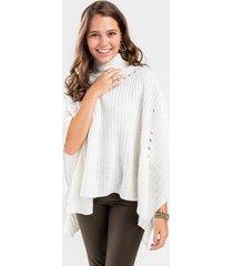 martha turtleneck knit poncho - white