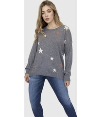 sweater cuello redondo estrellas astrid gris racaventura