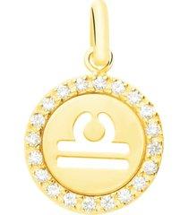 ciondolo bilancia in oro giallo e zirconi per donna