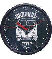 relógio parede plástico vw kombi type 2 preto