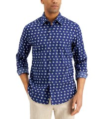 tasso elba men's floral-print cotton shirt, created for macy's