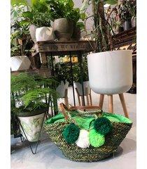 zielony freebag letnia pleciona torba z pomponami