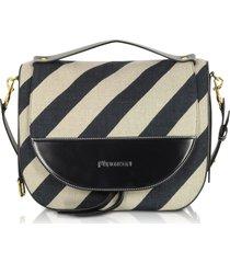 jw anderson designer handbags, black and off white striped linen moon shoulder bag