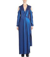 pleated metallic maxi dress