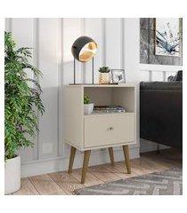 mesa de cabeceira retrô 1 gaveta móveis bechara mb2014 off white