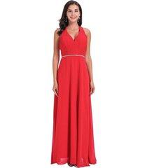 vestido fiesta detalle plateado rojo nicopoly