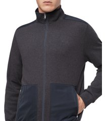calvin klein men's regular-fit mix-media full-zip sweatshirt