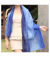 silk pintuck scarf, 'royal blue transition' (thailand)