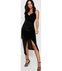 tall velvet wrap midi dress, black