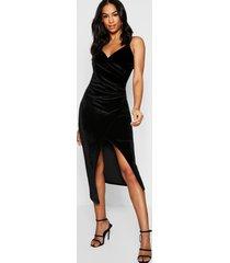 tall velvet wrap midi dress, black