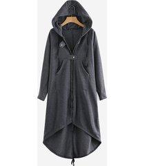 donna cappotto felpa con cappuccio chiusura a zip a maniche lunghe con bordo irregolare