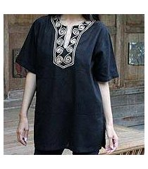 cotton blouse, 'black jasmine' (thailand)