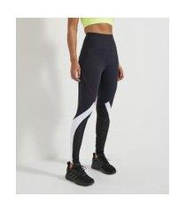 calça legging esportiva com recortes e detalhe contrastante | get over | preto | gg