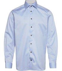 contemporary fit twill shirt w/ contrast collar & cuff skjorta business blå eton